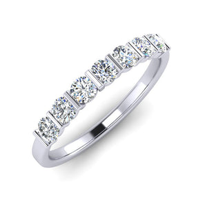 Platinum Wedding Ring with Seven Modern Round Brilliant Diamonds