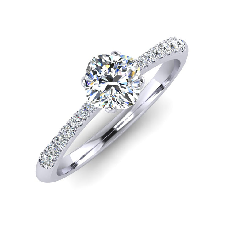 GIA 0.75ct Cushion Cut Diamond Hand fabricated Engagement ring in Platinum