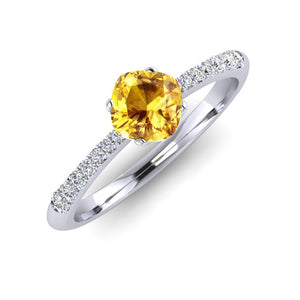 Fine Yellow Sapphire and Diamond Engagement Ring in Platinum