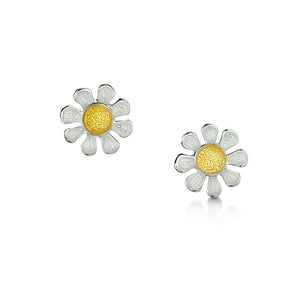 Daisies at Dawn - Silver and Enamel Earrings (Medium size)