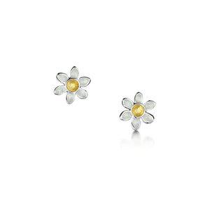Daisies at Dawn - Silver and Enamel Earrings