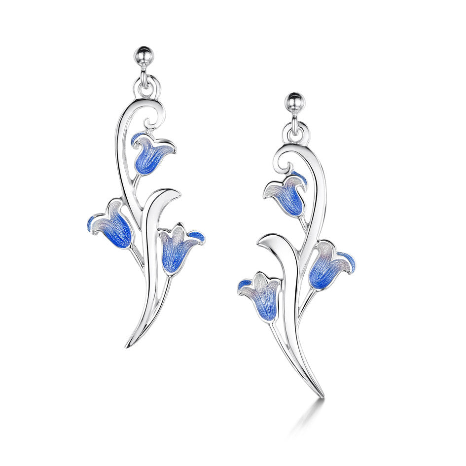 Bluebell - Silver and Enamel Earrings