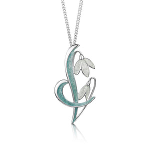Snowdrop - Sterling Silver and Enamel Pendant
