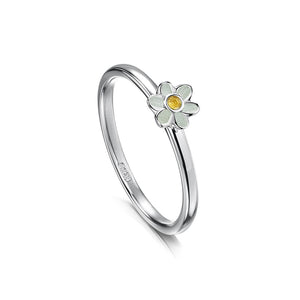 Daisies at Dawn - Silver and Enamel Ring