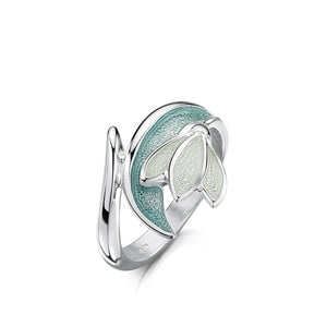 Snowdrop - Sterling Silver and Enamel Ring