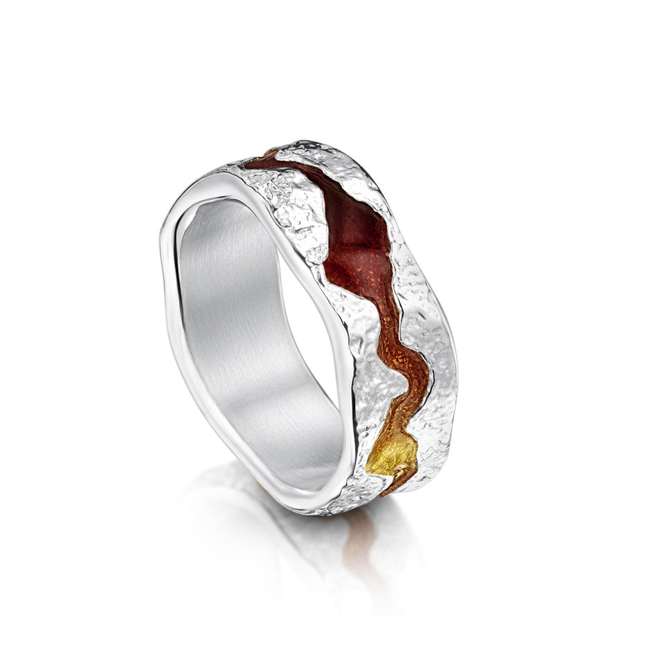 Sterling Silver Men's Lava Stream Ring by Sheila Fleet