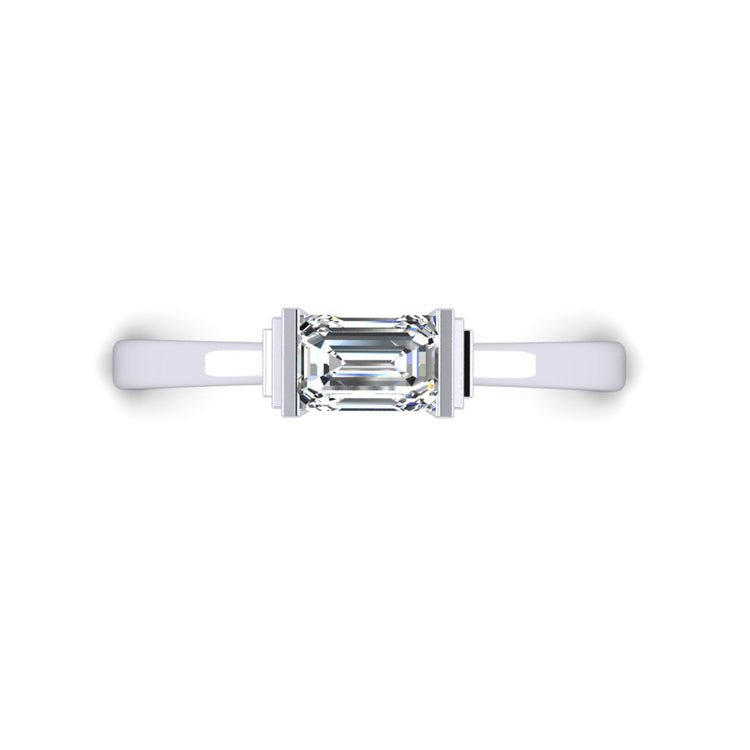 D VS2 GIA Diamond in an Art Deco Inspired Platinum Engagement ring
