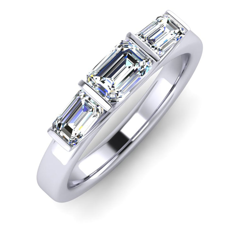 Emerald Cut Diamond Trilogy Engagement Ring hand fabricated in Platinum