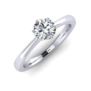GIA F VS2 Round Diamond Engagement Ring hand fabricated in Platinum