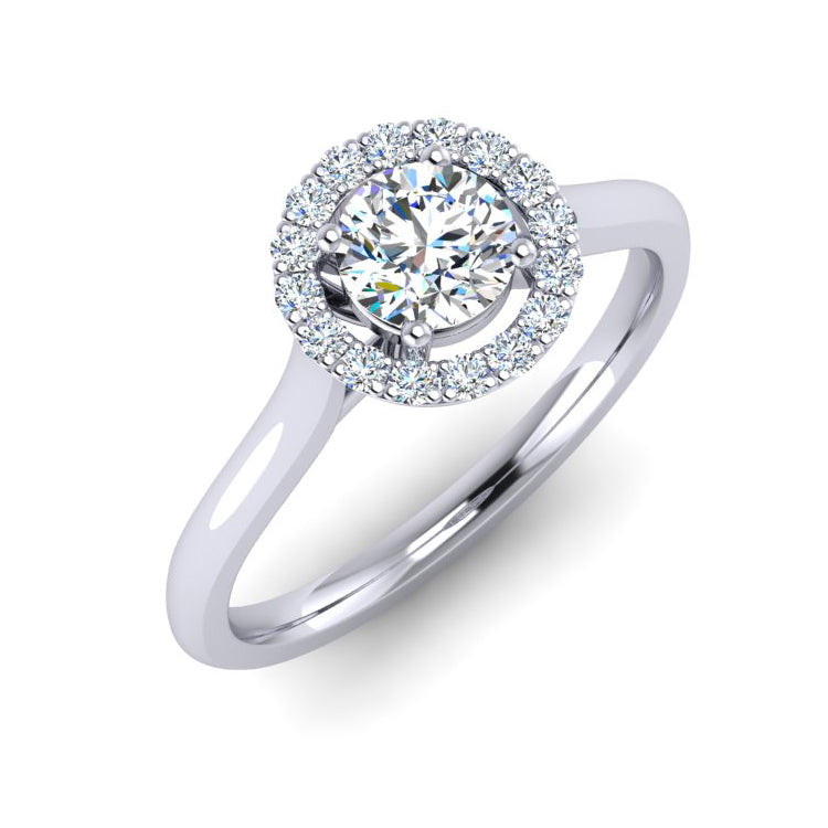 Platinum Halo Engagement Ring with GIA Certified F VS2 Diamond