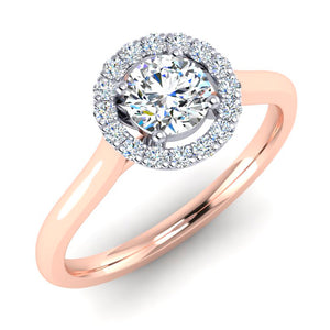 Platinum and 18ct Rose Gold Halo Engagement Ring with GIA F VS2 Diamond