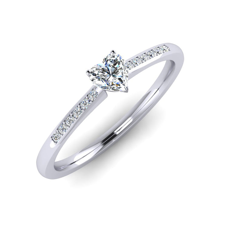 Fine Heart Shaped Diamond and Platinum Engagement Ring