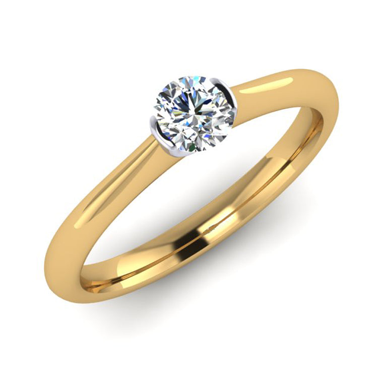 18ct Gold and Platinum Solitaire Engagement Ring with E VS2 GIA Diamond