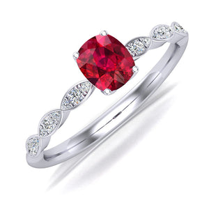 Platinum Engagement Ring with Spinel and Diamonds