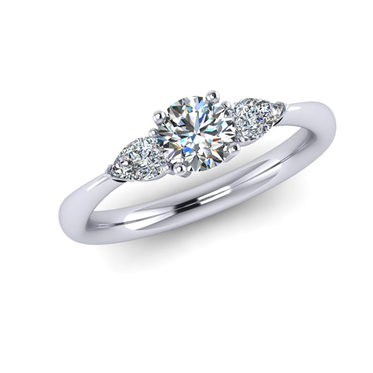 Hand fabricated Platinum Trilogy Engagement ring with Pear shaped diamonds