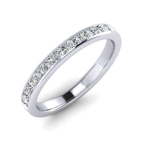 Channel Set Princess Cut Diamond Wedding Ring in Platinum