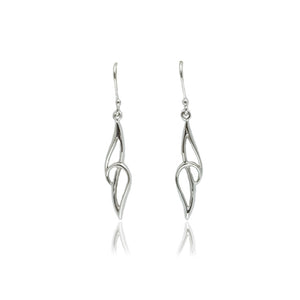 "18ct White Gold ""Curlicue"" Drop Earrings"