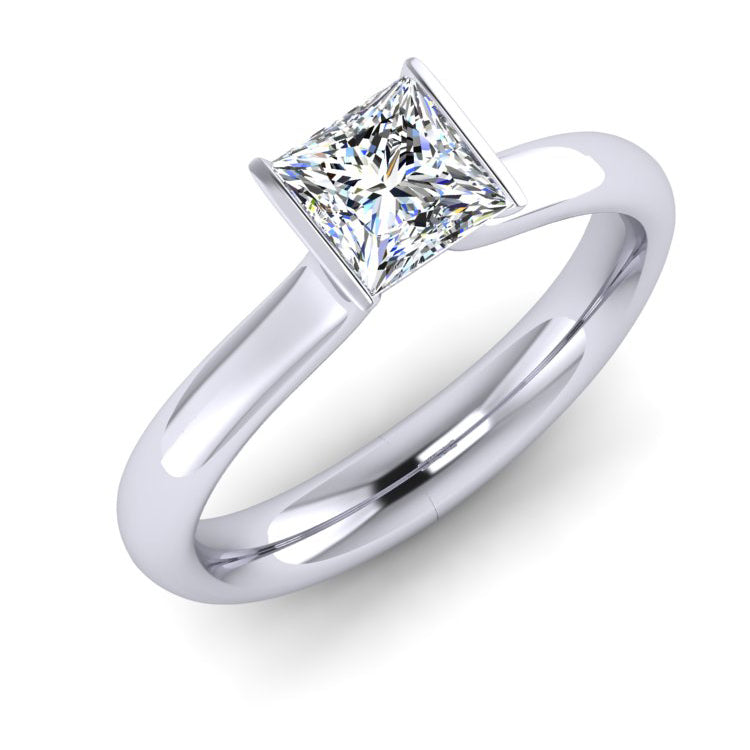 GIA E VS1 Princess Cut Diamond and Platinum Engagement Ring