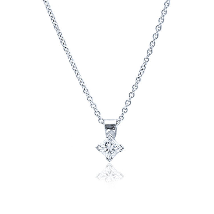 18ct White Gold Princess Cut Diamond Pendant