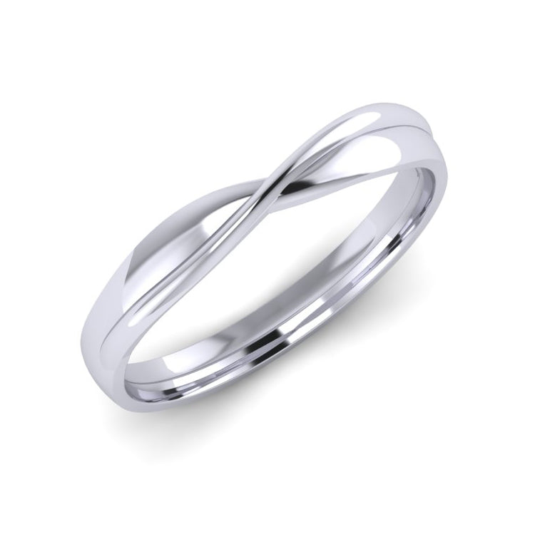 Platinum Crossover Fitted Ladies Wedding Ring