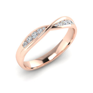 18ct Rose Gold Diamond Twist Wedding Ring