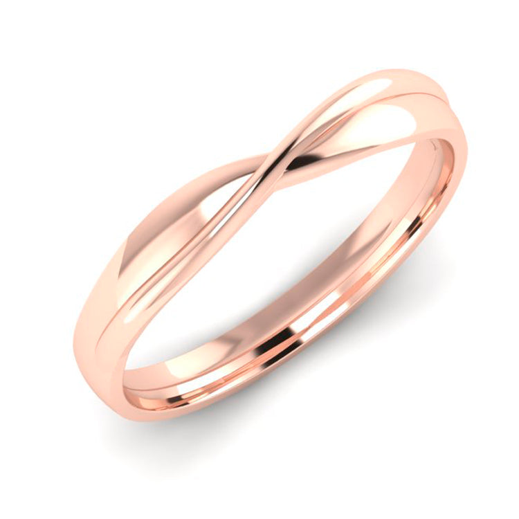 18ct Rose Gold Fitted Twist Wedding Ring