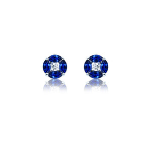 18ct White Gold Royal Blue Sapphire and Fine Diamond Stud Earrings
