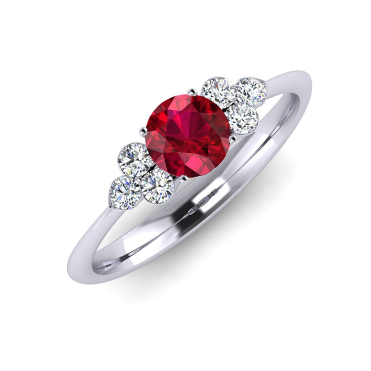 Platinum, Natural Ruby and Fine Diamond Engagement Ring