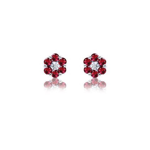 18ct White Gold Ruby and Fine Diamond Flower Stud Earrings
