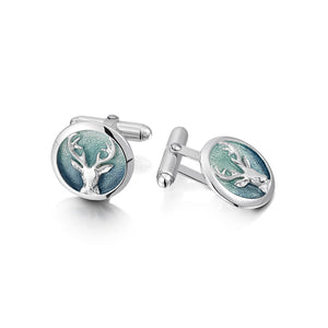 Sterling Silver and Enamel Stags Head Cufflinks