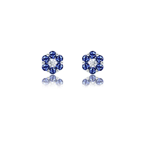 18ct White Gold Royal Blue Sapphire and Fine Diamond Flower Stud Earrings