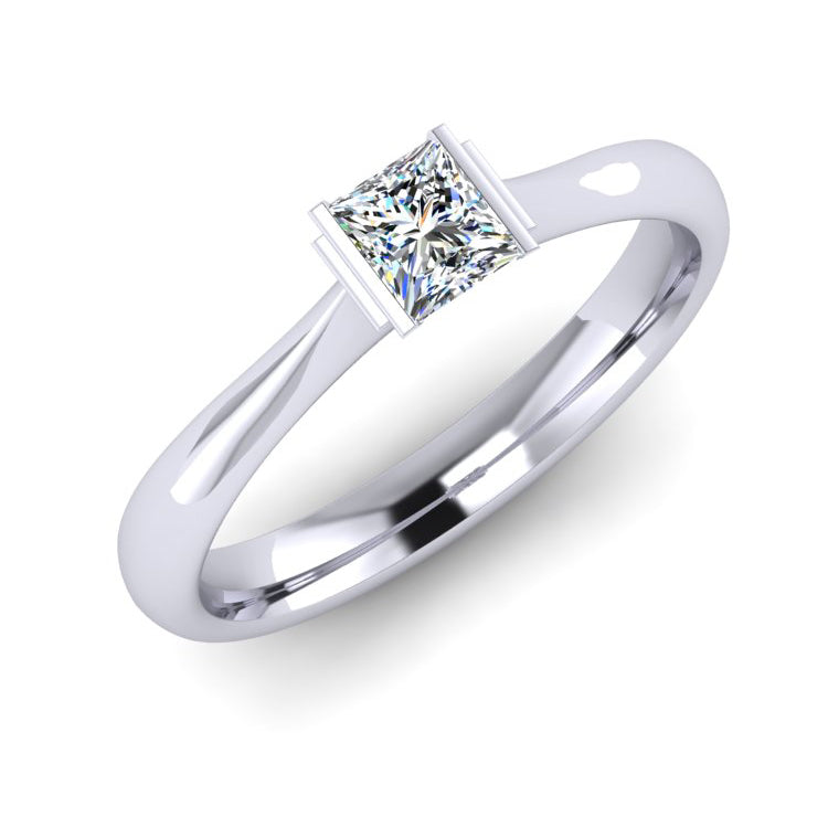 GIA F VS1 Princess Cut Diamond Engagement Ring in Platinum