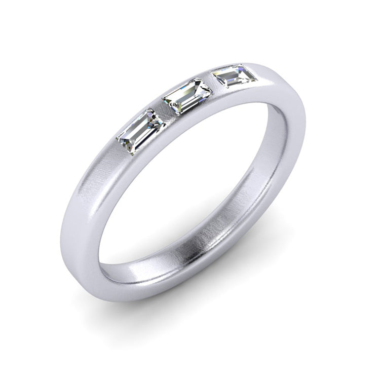 Platinum Wedding Ring with Baguette Cut Diamonds