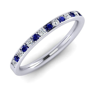 Platinum, Fine Diamond and Blue Sapphire Ring