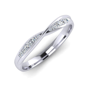 Platinum Diamond Crossover Ladies Wedding Ring