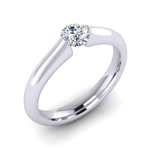 F VS1 GIA Diamond in a hand fabricated Platinum Tension set Engagement ring