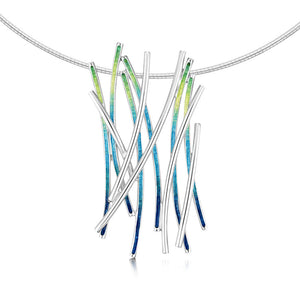 Wild Grasses - Silver and Enamel Necklet