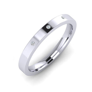 Platinum 3mm Wedding Ring with 3 diamonds