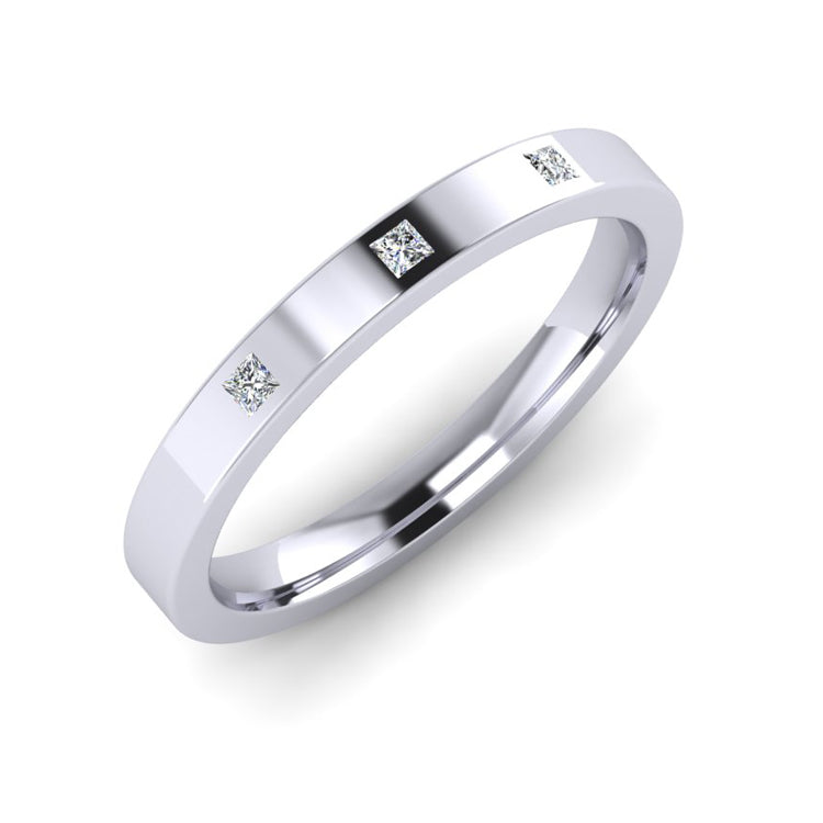 Platinum 3mm Wedding Ring  with 3 Princess Cut Diamonds