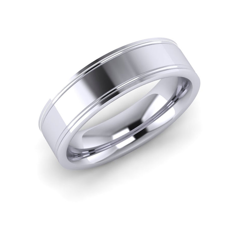 Platinum 6mm Flat Wedding Ring with engraved line detail