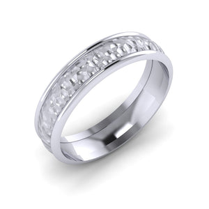 Platinum Men's Wedding Ring with Hammered Finish