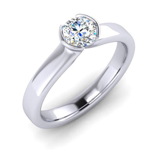 Fine Diamond set in Carolyn's Signature Fluted Platinum Ring
