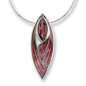 Sterling Silver and Enamel Pendant with Rhodalite