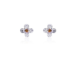 Natural Orange Diamond Stud Earrings in Platinum