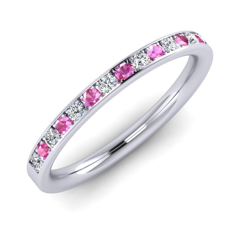 Platinum, Fine Diamond and Pink Sapphire Ring