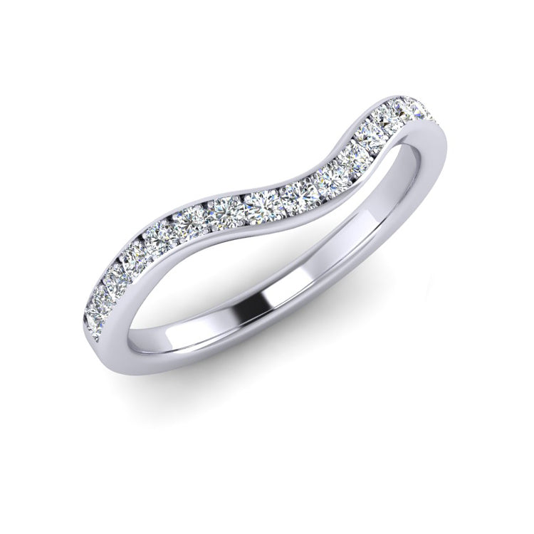 Platinum Shaped Wedding Ring with 15 Fine Diamonds