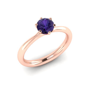 Fine Purple Sapphire and Diamond Engagement Ring in Rose Gold