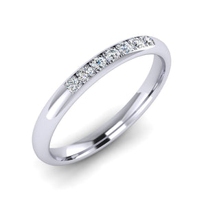 Platinum Wedding Ring with 7 Round Fine Diamonds