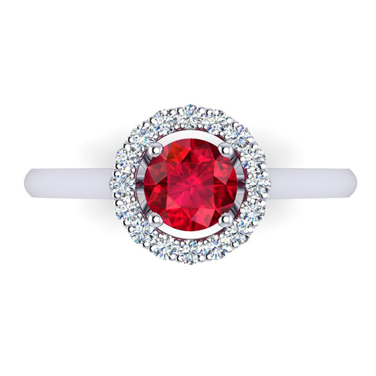 Platinum, Natural Fine Ruby and Diamond Engagement Ring (Halo design)