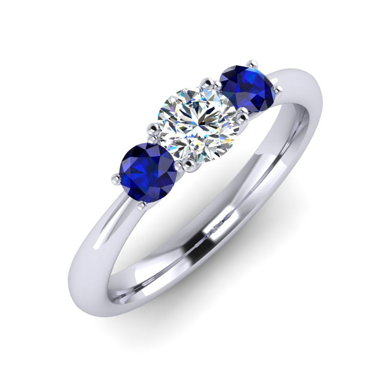 Fine Diamond and Sapphire Trilogy Platinum Engagement Ring
